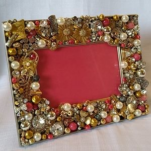 Hand Crafted Jeweled Picture Frame Gold Pink l..